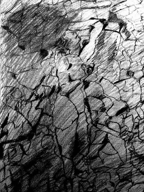 Immage In Stones Art Print featuring the drawing Immage In Stones by Rocky Malhotra