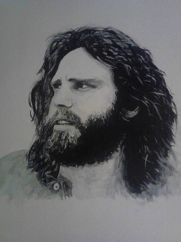 Jim Morrison Acrylia Painting Portrait Musician Black And White Art Print featuring the painting Jim Morrison Last Year Of Life by William McCann