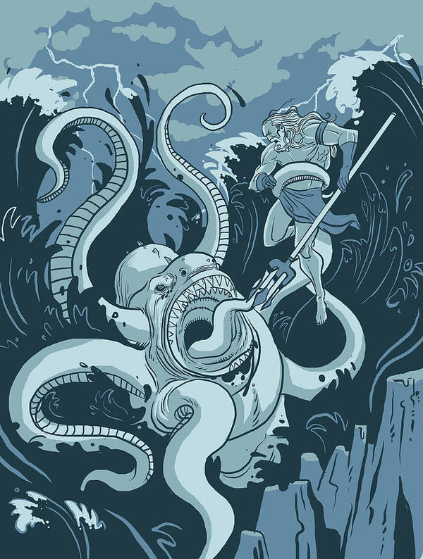 Sea Creature Art Print featuring the digital art King Neptune by Michael Myers