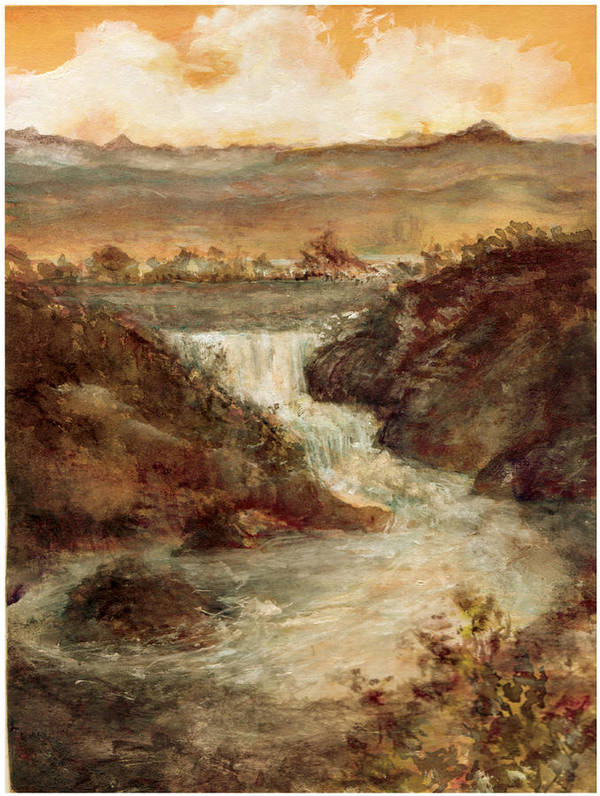 Art Print featuring the painting Lake Falls by Kitty Meekins