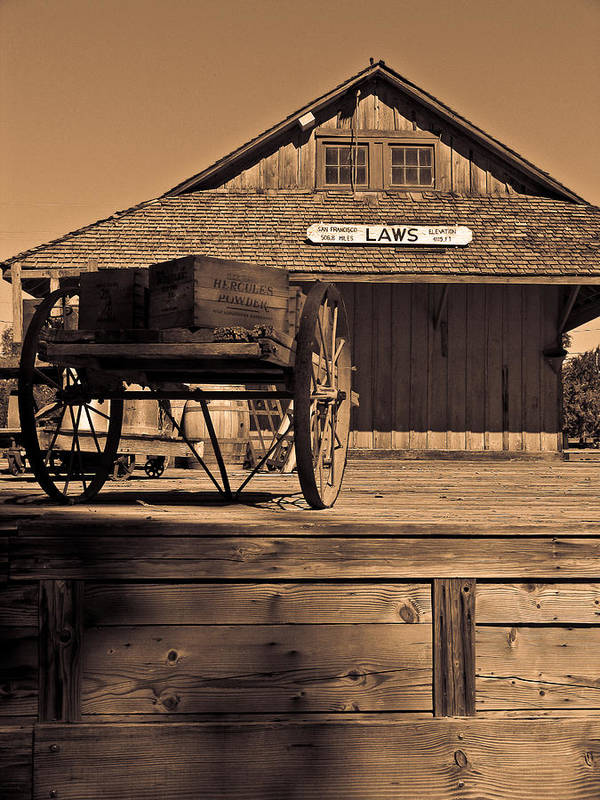 Laws Art Print featuring the photograph Laws Ca Historic Depot by Tony and Kristi Middleton