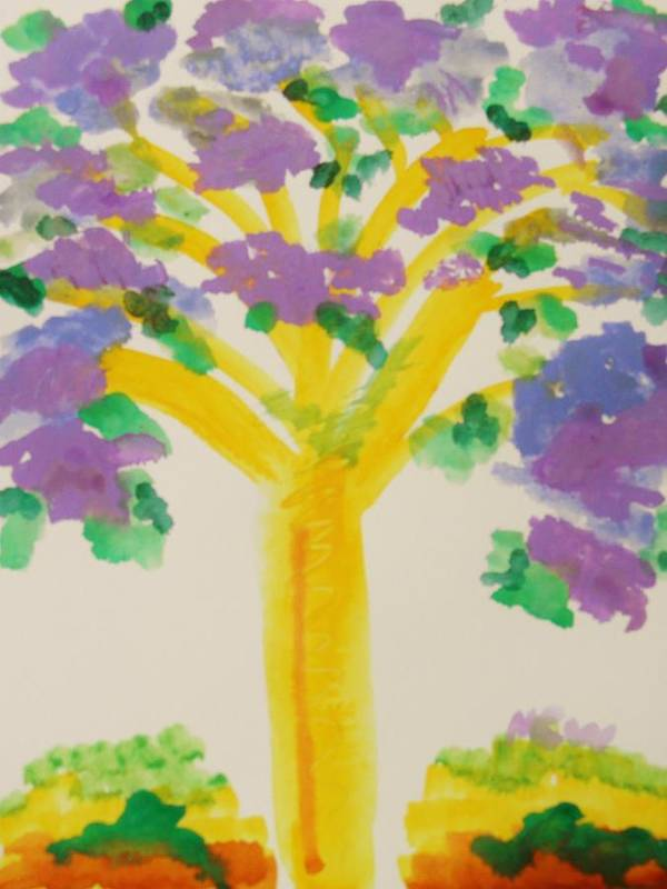 Tree Art Print featuring the painting Lilac Lavender Tree by Mary Carol Williams