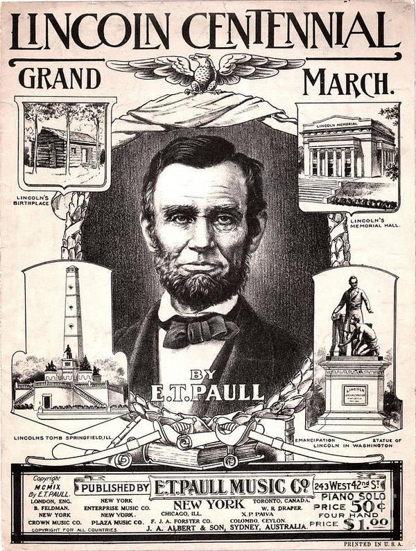 1909 Art Print featuring the photograph Lincoln Centennial, C1909 by Granger