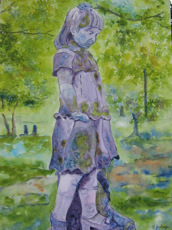 Statue Portrait Art Print featuring the painting Little Nanny by Patsy Sharpe