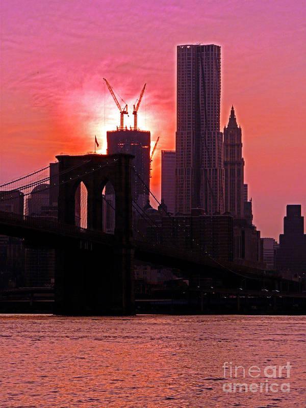 Buildings Art Print featuring the photograph Manhattan Sunset by Kendall Eutemey