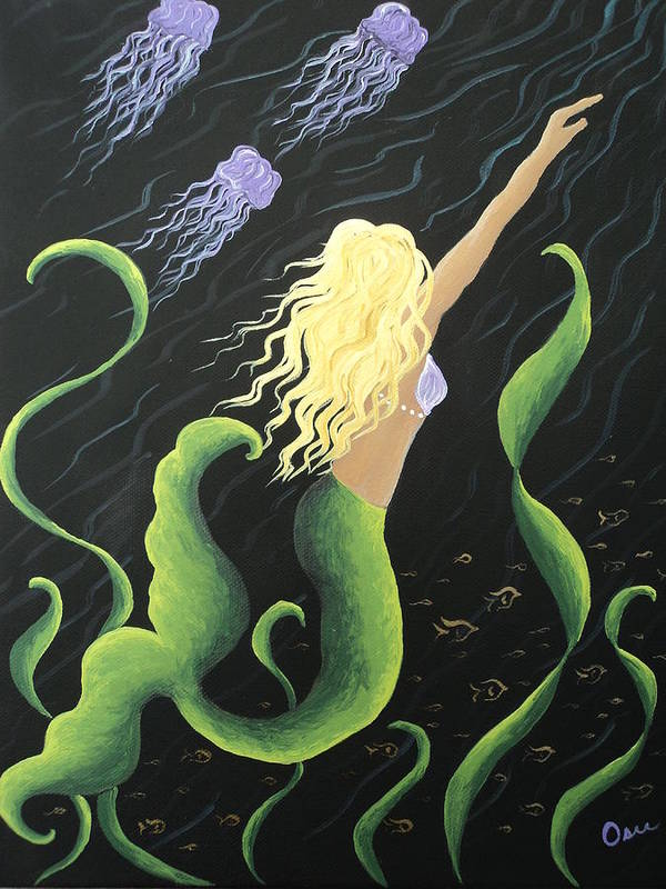 Mermaid Art Print featuring the painting Mermaid Swimming With Jellyfish by Osee Koger