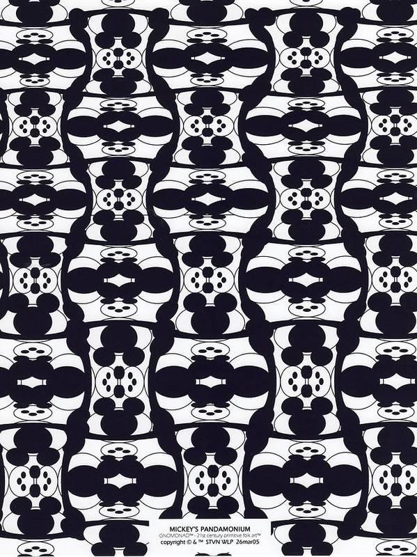 B&w Digital Line Art Art Print featuring the digital art Mickey's Pandamonium by Steven Welp