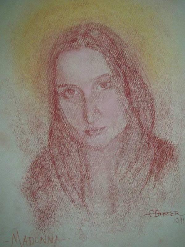 Madonna Art Print featuring the drawing Modern Madonna by Sheila Gunter
