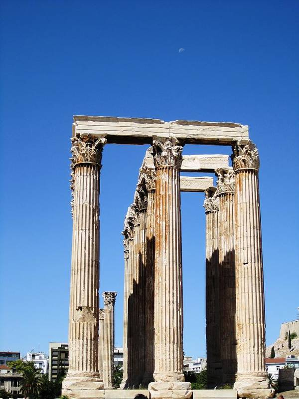 Athens Art Print featuring the photograph Moon Over Corinthian Columns Of The Temple Of Olympian Zeus Ancient Greek Architecture Athens Greece by John Shiron