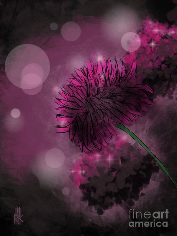 Flowers Art Print featuring the digital art Moonlight And Pixiedust by J Kinion