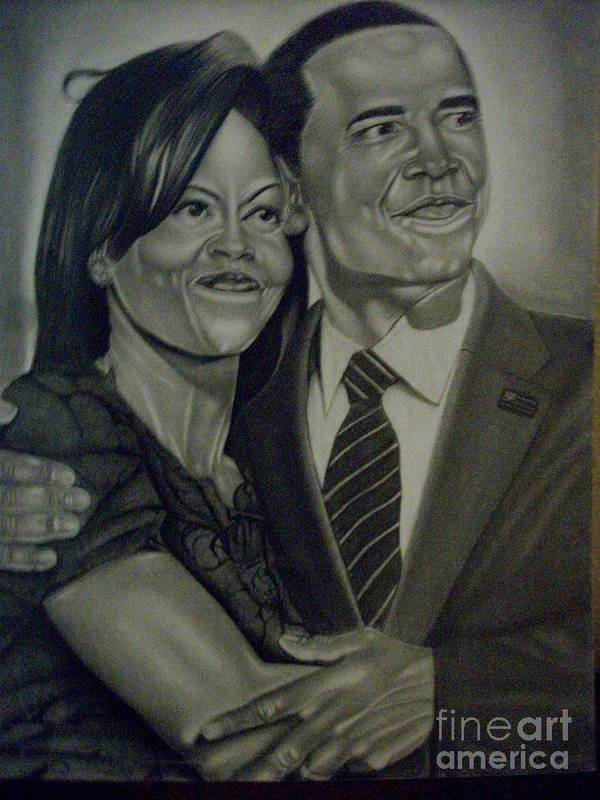 President Art Print featuring the drawing Mr. And Mrs. Obama by Handy