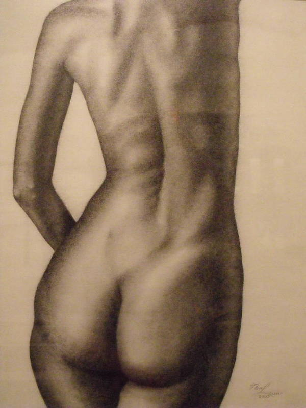Fine Art Drawing Portrait Charcoal Original Nude Female Realism Woman Figurative Anatomy Black And White Beautiful Image Modern Beauty Classic Design Images Contemporary Picture Natural Imagery Pictures Decorative Office Light Expressive Pretty People Canvas Closeup Macro Strokes Back Prints Bright Lines Texture Vivid Reflection Romantic Print Girl Modern Gallery Decor Usa Indoor Still Life Intense Tasteful Delicate Pinup Back View Torso Naked Lady Pose Reaching Stretching Standing Muscular  Art Print featuring the painting Nude Female Study Of Back by Neal Luea