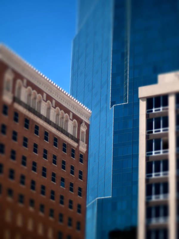 Windows Photographs Art Print featuring the photograph Old And New In Fort Worth by Jon Herrera