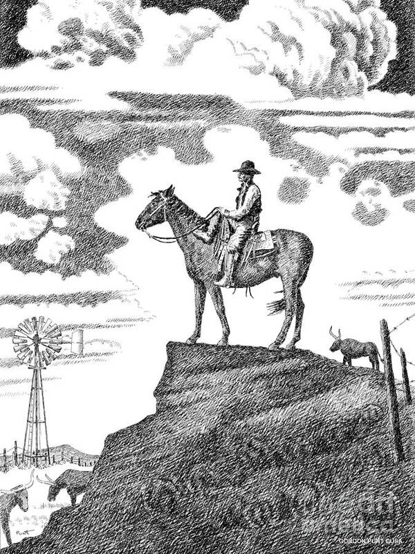 Cowboy Art Print featuring the drawing Old-west-art-cowboy by Gordon Punt