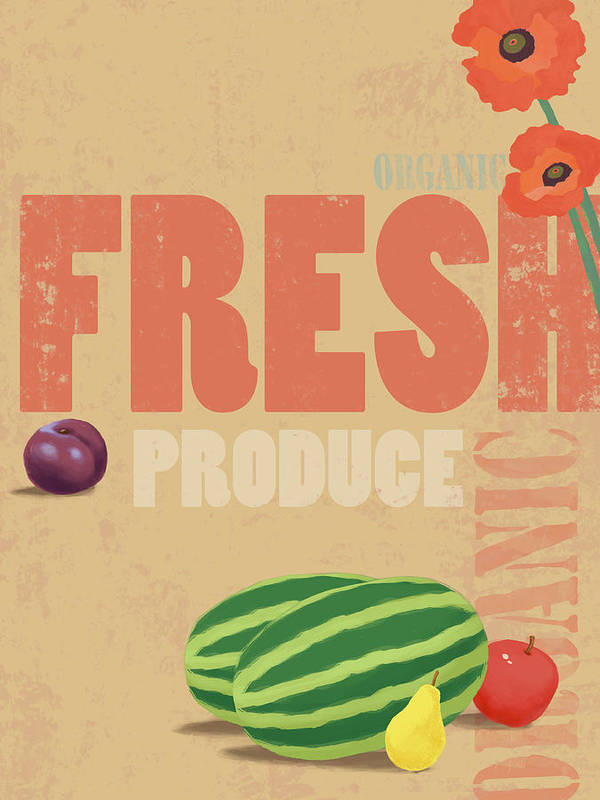 Vertical Art Print featuring the digital art Organic Fresh Produce Poster Illustration by Don Bishop