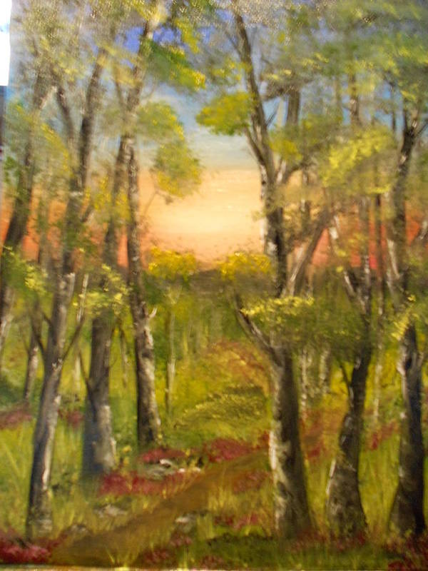Landscape. Trees Flowers Art Print featuring the painting Path In Forest by Mary DeLawder