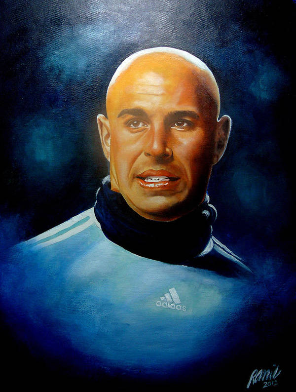 Liverpool Art Print featuring the painting Pepe Reina Portrait by Ramil Roscom Guerra
