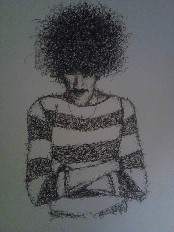 Drawing Portrait Musician Black And White Pen Phil Lynott Art Print featuring the drawing Phil Lynott by William McCann