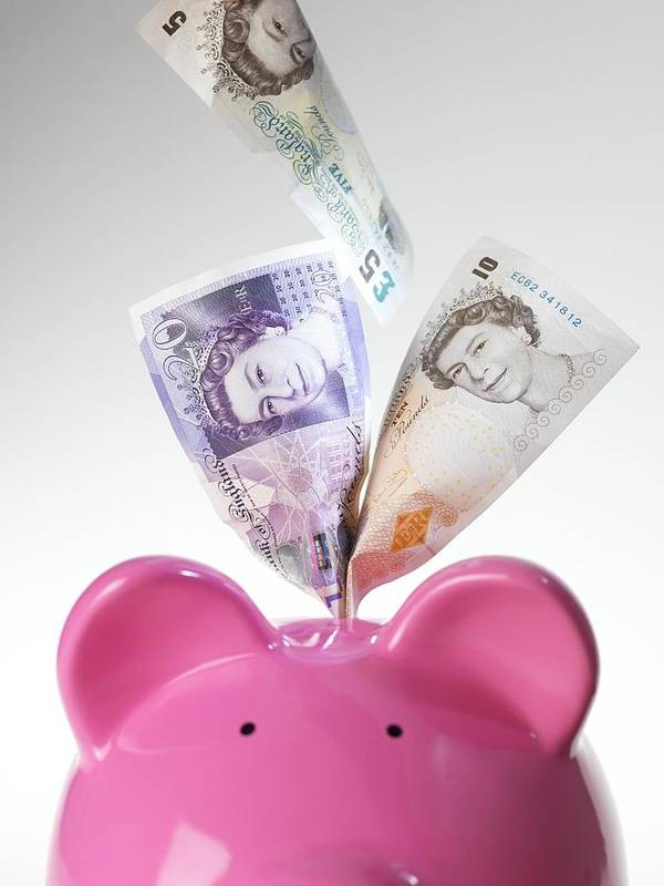 Piggy Bank Art Print featuring the photograph Piggy Bank And British Pounds by Tek Image