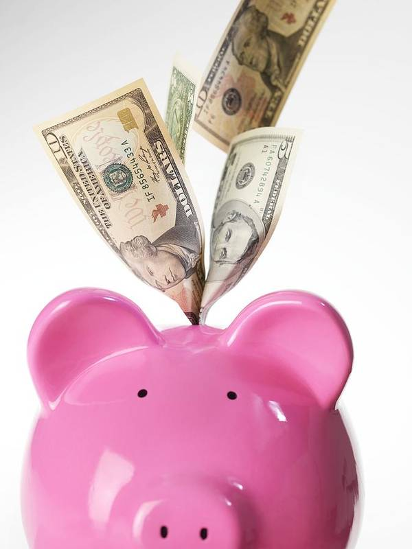 Piggy Bank Print featuring the photograph Piggy Bank And Us Dollars by Tek Image