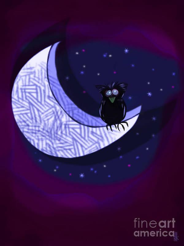 Owl Art Print featuring the digital art Reach For The Moon by J Kinion