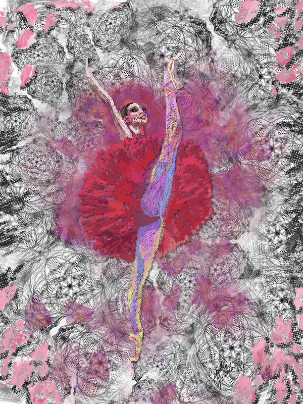 Dance Art Print featuring the digital art Red Tutu by Cynthia Sorensen