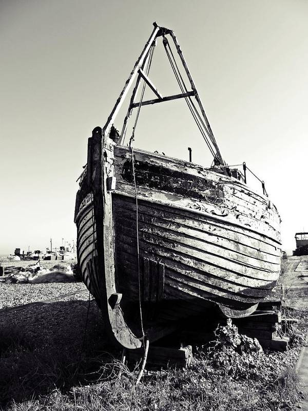 Fishing Boat Art Print featuring the digital art Retired Fishing Boat by Sharon Lisa Clarke