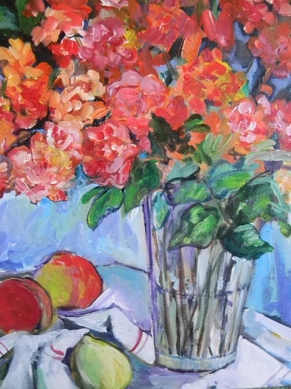 Roses Art Print featuring the painting Roses And Peaches by Carol Mangano