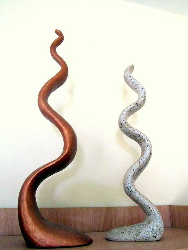 Serpants Art Print featuring the sculpture Serpants Duo Pair Of Abstract Snake Like Sculptures In Brown And Spotted White Dancing Upwards by Rachel Hershkovitz