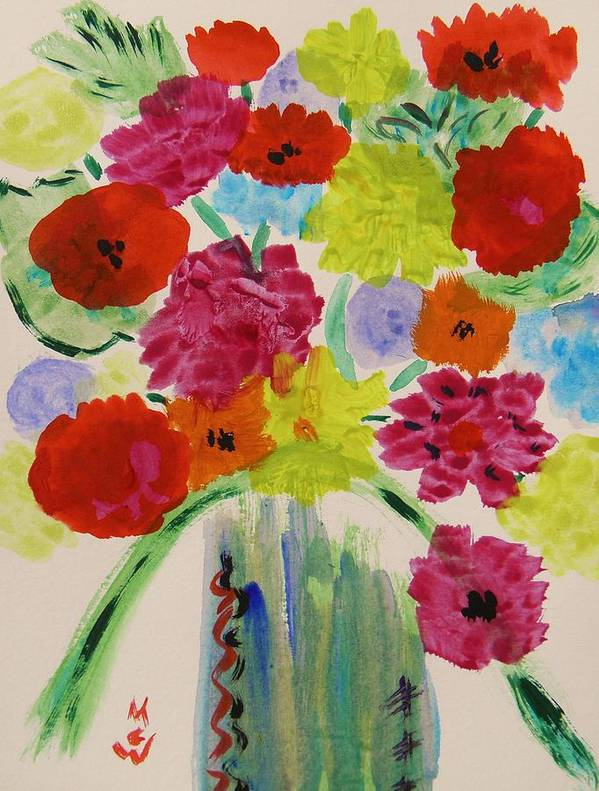 Bouquet Art Print featuring the painting Simple Bouquet by Mary Carol Williams