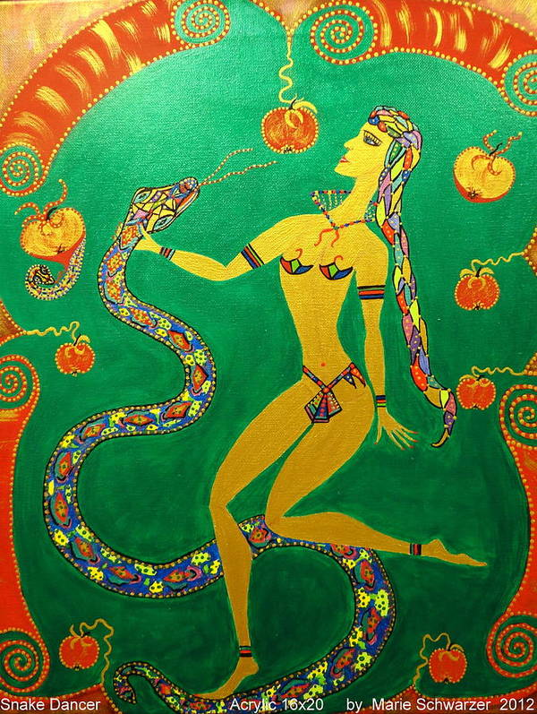 Gift Art Print featuring the painting Snake Dancer by Marie Schwarzer