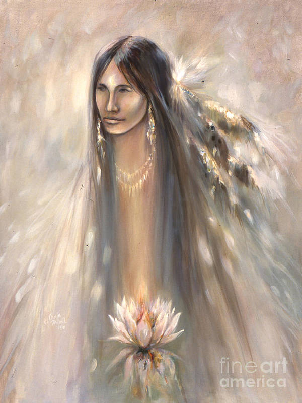 Spirit Print featuring the mixed media Spirit Woman by Charles B Mitchell