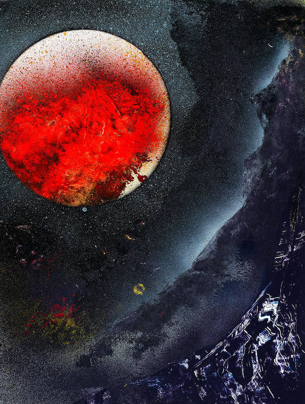 Planets Universe Stars Planets Moon Venus Mars Art Print featuring the painting Spray-paint 35 2010 F.g by Frank G