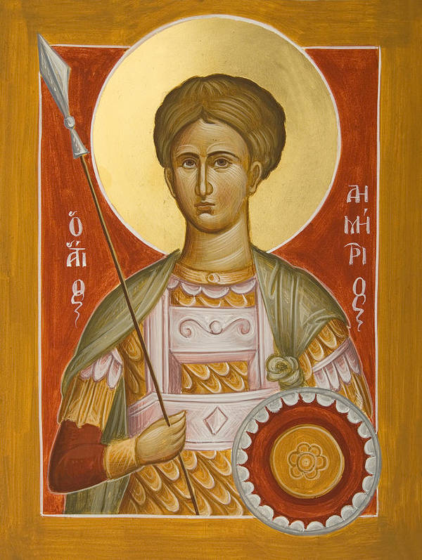 St Demetrios Print featuring the painting St Demetrios The Myrrhstreamer by Julia Bridget Hayes