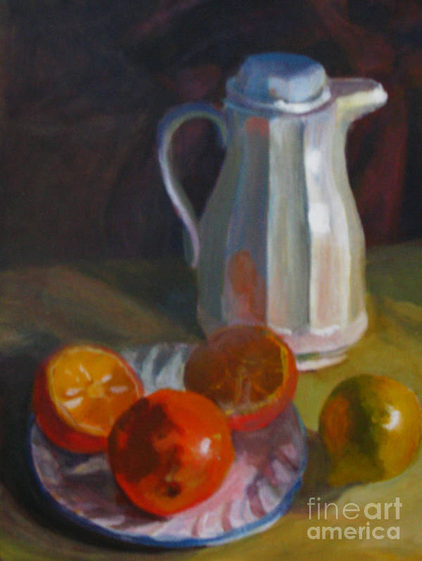Still Life Art Print featuring the painting Still Life With White Carafe And Oranges by Judith Reidy