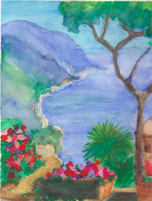 Italy Art Print featuring the painting The Coast Of Italy by Katherine Shemeld