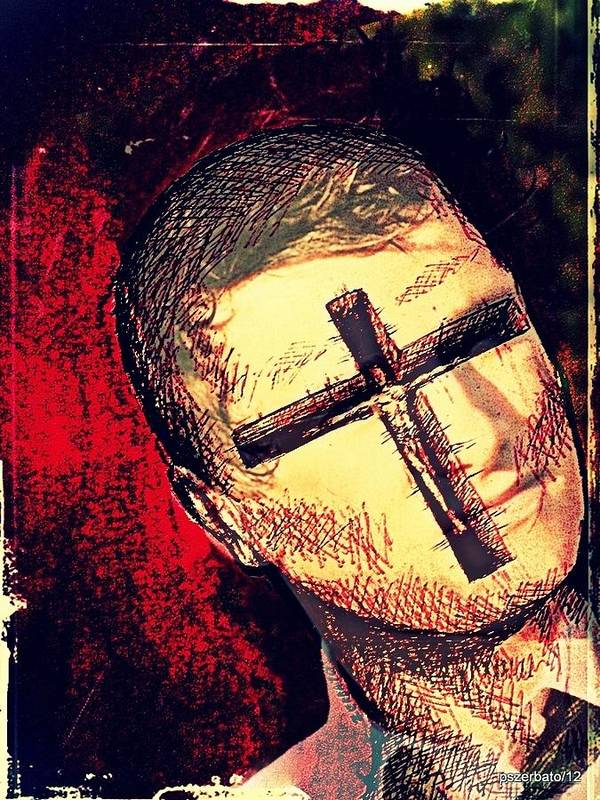 Restlessness Of The Soul Art Print featuring the digital art The Face Is Sowing Fertile Shadow Of The Cross by Paulo Zerbato