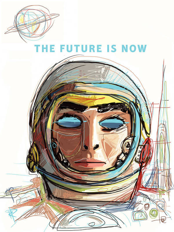 Astronaut Art Print featuring the mixed media The Future Is Now by Russell Pierce