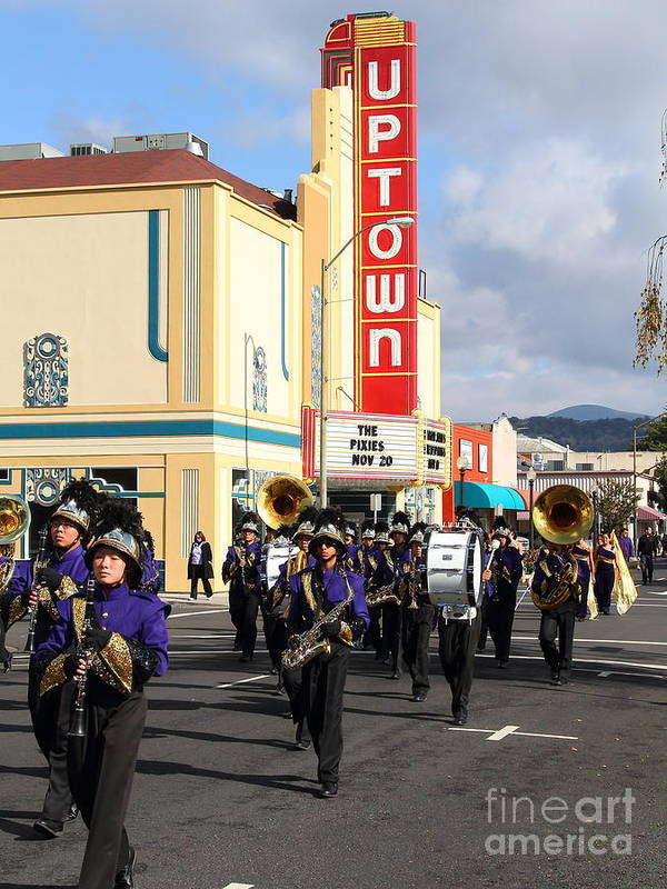 Theater Art Print featuring the photograph The Marching Band At The Uptown Theater In Napa California . 7d8925 by Wingsdomain Art and Photography