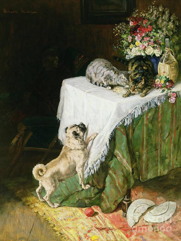 The Mischievous Tabbies Art Print featuring the painting The Mischievous Tabbies by Clemence Nielssen