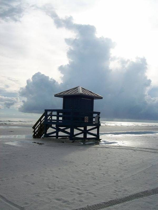 Lifeguards Art Print featuring the photograph The Shack And The Storm by Tiffney Heaning