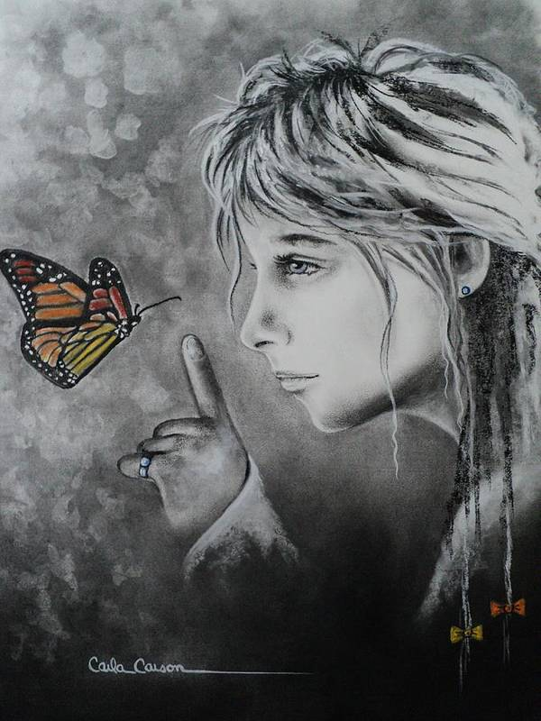 Butterfly Art Print featuring the drawing The Story Of Me by Carla Carson