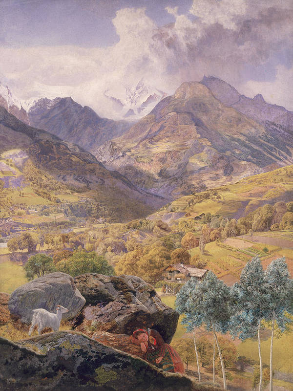 Mountain; Landscape; Goat; Italy; Aosta; Valley; Northern Italy; Italian Art Print featuring the painting The Val D'aosta by John Brett