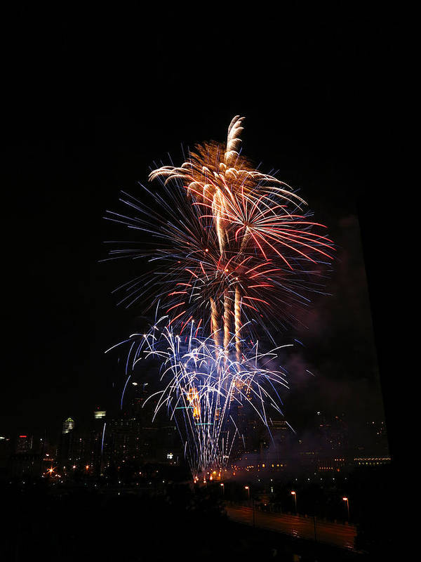 Fireworks Art Print featuring the photograph Tower Of Fire Power by Heidi Hermes