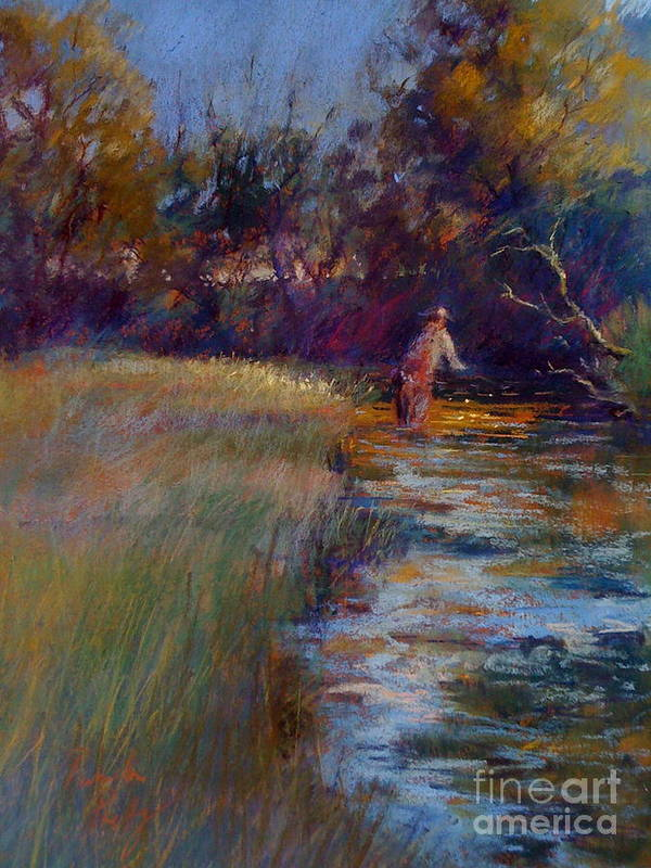 River Print featuring the painting Tumbling Waters by Pamela Pretty
