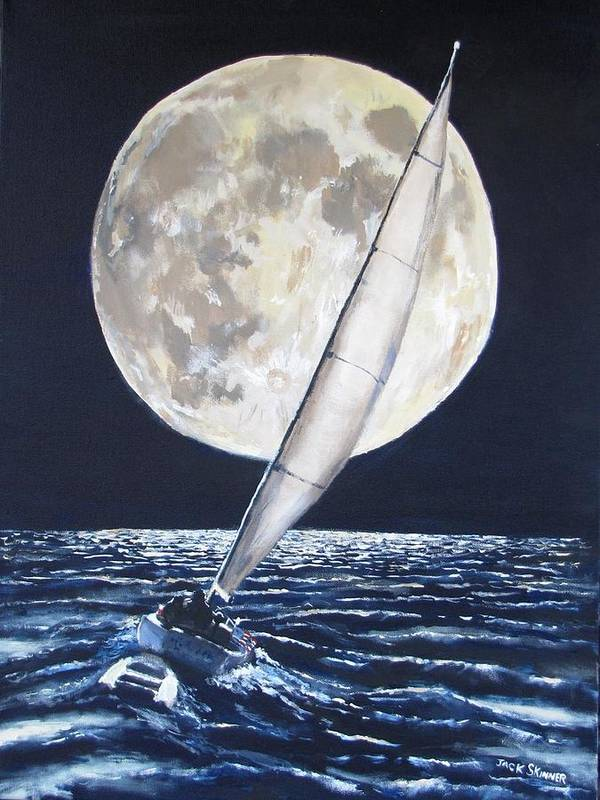 Sailboat Ocean Art Print featuring the painting Under Full Sail..under Full Moon by Jack Skinner