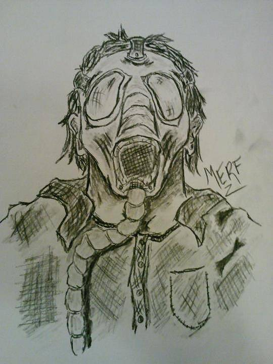 Gas Mask Art Print featuring the drawing Valentine by Danny Merrifield