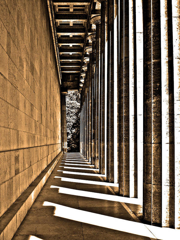 Europe Art Print featuring the photograph Walhalla Colonnade ... by Juergen Weiss