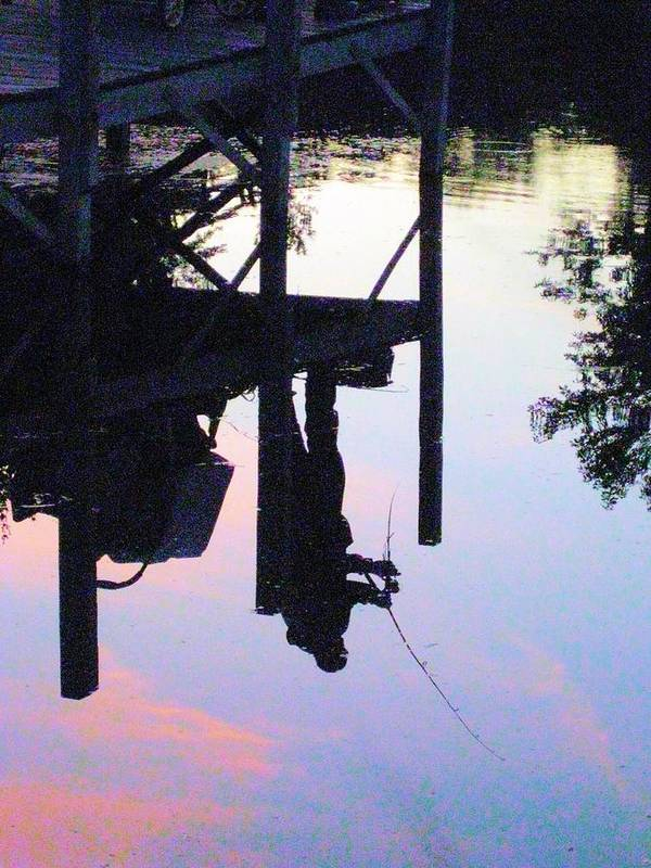 Water Print featuring the photograph Water Reflection Of A Fisherman by Judy Via-Wolff