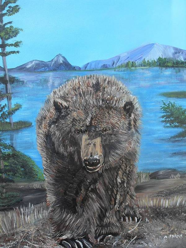Grizzley Bear Art Print featuring the painting Hello Grizzley Bear by Aleta Parks